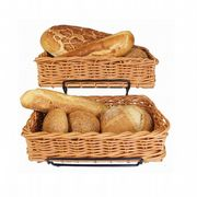 TWO Heavy Duty, Polyrattan Bread Baskets (40x25x10cms) with Display Stand
